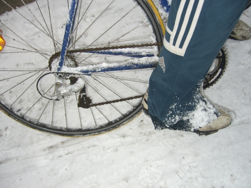 Mi bici, yo y la nieve