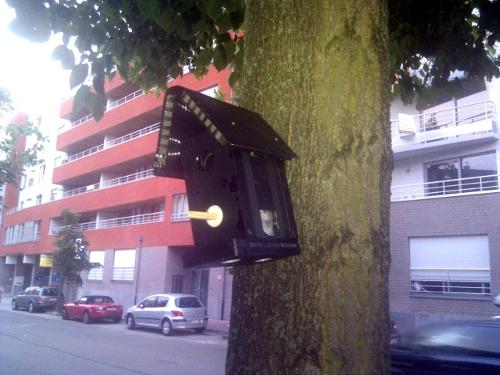 Casa de pájaros construida con cintas de video