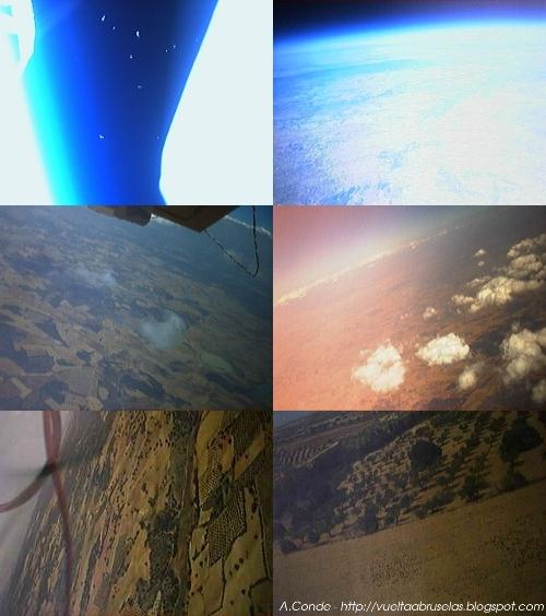 Algunas de las fotos obtenidas por la Webcam de la sonda en su descenso