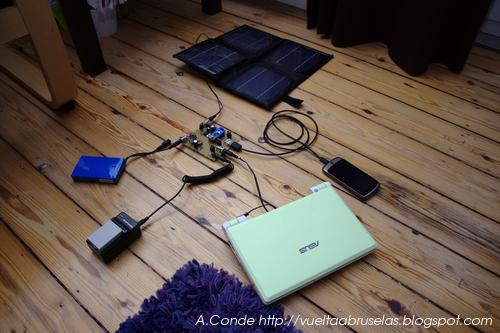 El panel solar y los aparatos